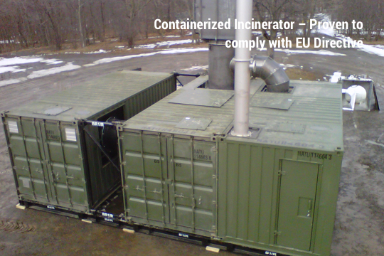 Containerized waste incinerator